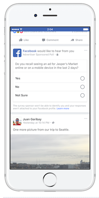 Example of Facebook Brand Lift